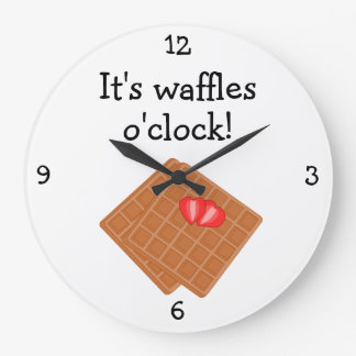 ワッフルの時のおもしろいの食糧グラフィック ラージ壁時計