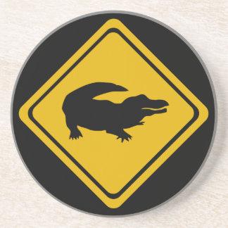 ワニの交通標識 コースター