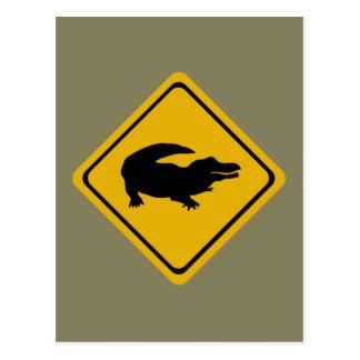 ワニの交通標識 ポストカード