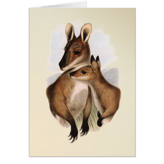 ワラビーの母およびベビー(絵を描かれる) カード