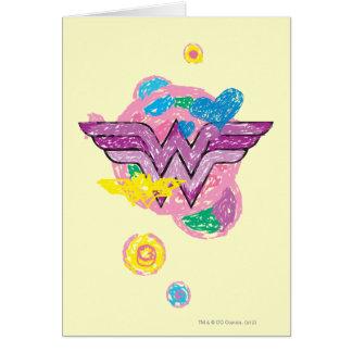 ワンダーウーマンのカラフルの走り書き グリーティングカード