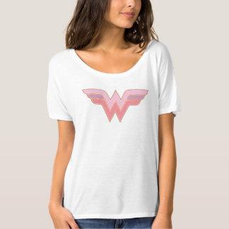 ワンダーウーマンのピンクおよびオレンジ網のロゴ Tシャツ