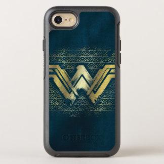 ワンダーウーマンのブラシをかけられた金ゴールドの記号 オッターボックスシンメトリーiPhone 8/7 ケース