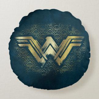 ワンダーウーマンのブラシをかけられた金ゴールドの記号 ラウンドクッション
