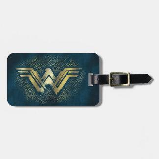 ワンダーウーマンのブラシをかけられた金ゴールドの記号 ラゲッジタグ