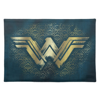 ワンダーウーマンのブラシをかけられた金ゴールドの記号 ランチョンマット