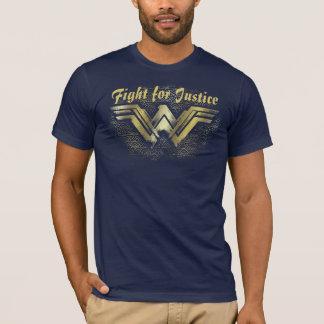 ワンダーウーマンのブラシをかけられた金ゴールドの記号 Tシャツ