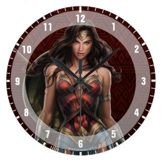 ワンダーウーマンの戦い準備ができた喜劇的な芸術 ラージ壁時計
