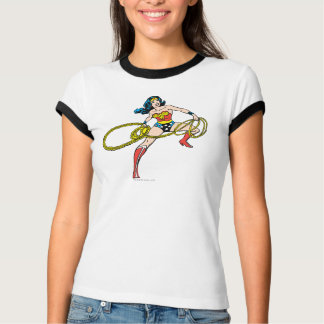 ワンダーウーマンの振動投げ縄の権利 Tシャツ