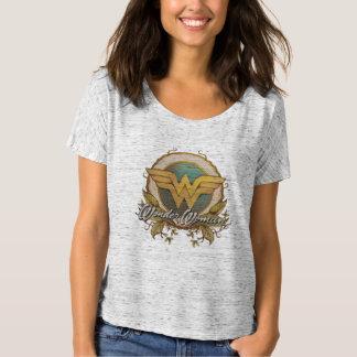 ワンダーウーマンの群葉のスケッチのロゴ Tシャツ