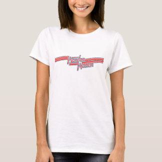 ワンダーウーマンの赤いおよび青い縞のロゴ Tシャツ