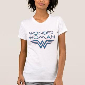 ワンダーウーマンの青および赤いレトロのロゴ Tシャツ