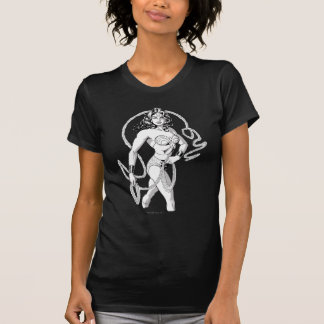ワンダーウーマンの黒く及び白い戦闘機 Tシャツ