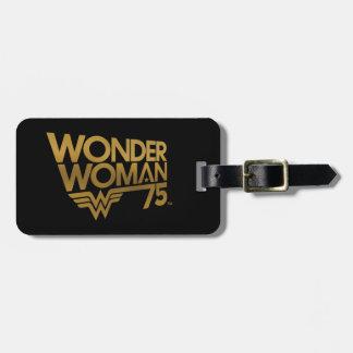 ワンダーウーマン第75記念日の金ゴールドのロゴ ラゲッジタグ