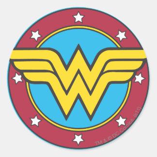 ワンダーウーマン|の円及び星のロゴ ラウンドシール