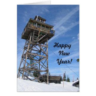 ワーナー山の火の眺望の新年の幸福 カード