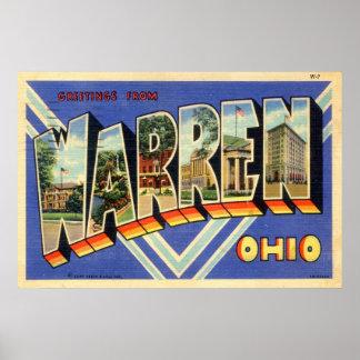 ワーレンオハイオ州の30年代のヴィンテージからの挨拶 ポスター
