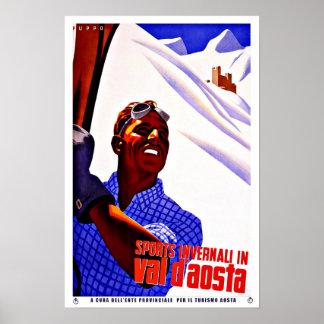 ヴァッレ・ダオスタ州イタリアのヴィンテージ旅行のスキースポーツ プリント