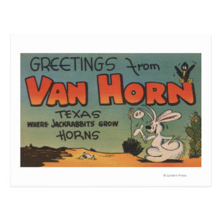 ヴァンHorn、テキサス州(ジャックウサギ及びカラス) ポストカード