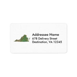 ヴァージニアの地図の宛名ラベル ラベル