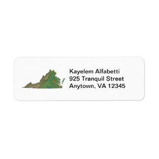 ヴァージニアの地図の差出人住所ラベル ラベル