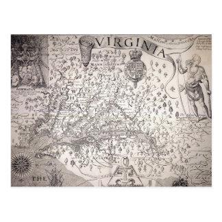 ヴァージニアの地図1612年 ポストカード