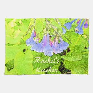 ヴァージニア名前入りな青い鐘の花 キッチンタオル