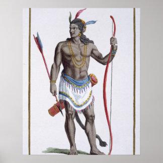ヴァージニア1780年からの貴族(着色された版木、銅版、版画) ポスター