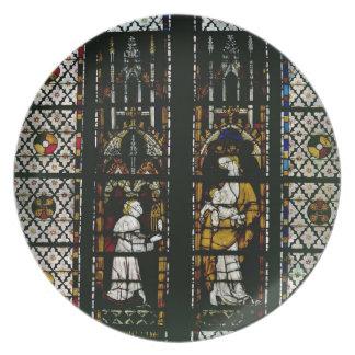 ヴァージンおよびラオールde Ferrieresを描写する窓 プレート