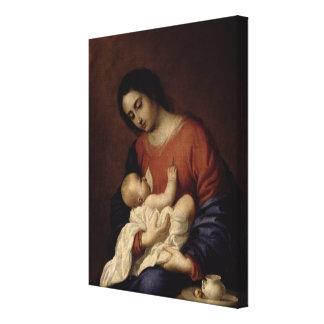 ヴァージンおよび子供1658年 キャンバスプリント
