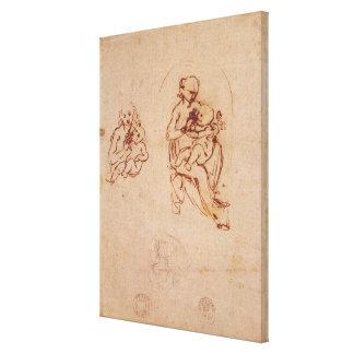 ヴァージンおよび子供、c.1478-1480のために調査して下さい キャンバスプリント
