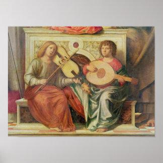 ヴァージンの絵画からの天使のミュージシャン ポスター
