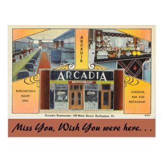 ヴァーモントのアルカディアのレストラン、バーリントン ポストカード