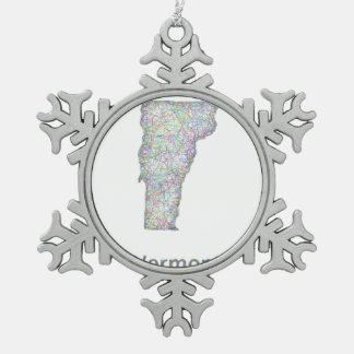 ヴァーモントの地図 スノーフレークピューターオーナメント