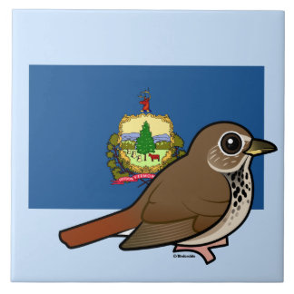 ヴァーモントの州Birdorable: チャイロコツグミ タイル