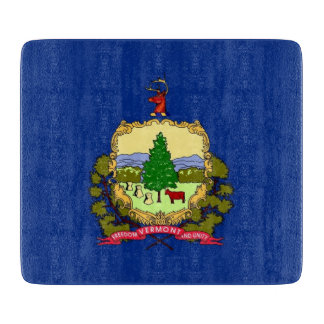 ヴァーモントの旗を持つ小さいガラスまな板 カッティングボード