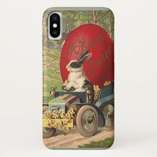 ヴィンテージおもしろいなイースターのバニーウサギの卵の自動車 iPhone X ケース