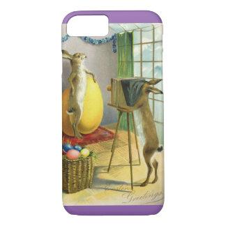 ヴィンテージおもしろいなイースター、バニーウサギのカメラマン iPhone 8/7ケース