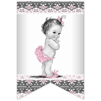 ヴィンテージおよびピンクの灰色の女の子のベビーシャワー バンティングフラッグ