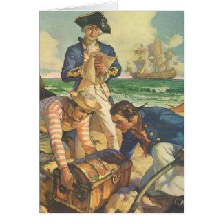 ヴィンテージのおとぎ話の海賊、宝物島 カード