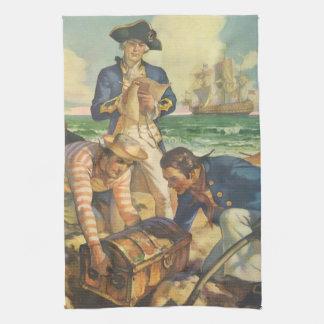 ヴィンテージのおとぎ話の海賊、宝物島 キッチンタオル