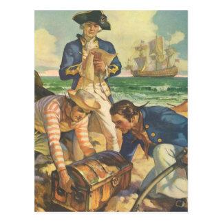 ヴィンテージのおとぎ話の海賊、宝物島 ポストカード
