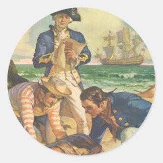 ヴィンテージのおとぎ話の海賊、宝物島 ラウンドシール