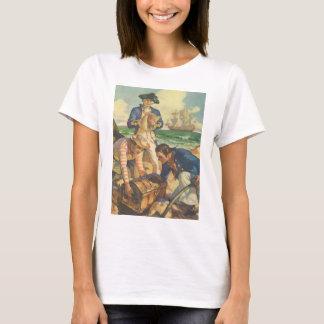 ヴィンテージのおとぎ話の海賊、宝物島 Tシャツ