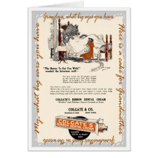 ヴィンテージのおとぎ話の赤い乗馬フードの広告の挨拶 カード