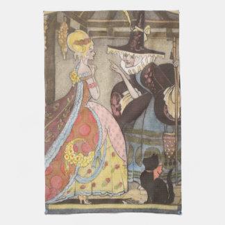 ヴィンテージのおとぎ話、シンデレラおよび妖精 キッチンタオル
