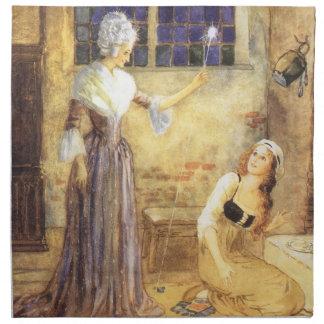 ヴィンテージのおとぎ話、シンデレラおよび妖精 ナプキンクロス