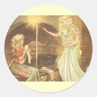 ヴィンテージのおとぎ話、シンデレラおよび妖精 ラウンドシール