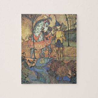 ヴィンテージのおとぎ話、勇敢な騎士およびドラゴン ジグソーパズル