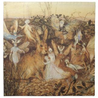 ヴィンテージのおとぎ話、妖精間のウサギ ナプキンクロス